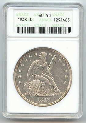 1843 Seated Liberty Dollar, Old Small ANACS Slab, AU-50