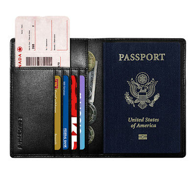 RFID Blocking PU Leather ID Card Pocket Holder Passport Travel Wallet Cover Case