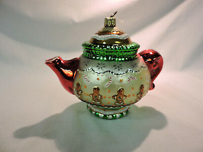 GINGERBREAD TEAPOT AP1043 Mary Engelbreit Polonaise Komozja Blown Glass Ornament