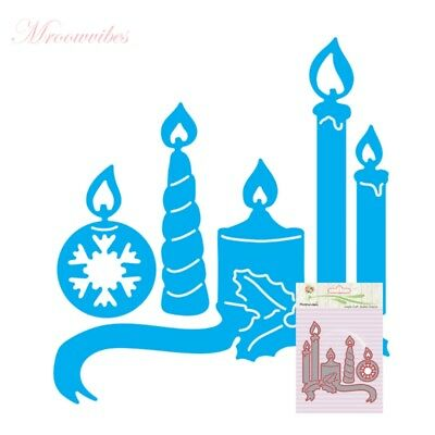 Christmas Candle Cutting Dies Stencil Scrapbook Album Paper Card Embossing Craft