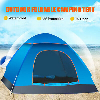 2-3 Person Waterproof Outdoor Foldable Pop Up Tent Camping Hiking Family Travel