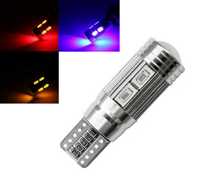 2x T10 CANBUS LED 10 SMD 501 W5W SUPER BRIGHT WEDGE LIGHT WHITE/RED/Blue BULB