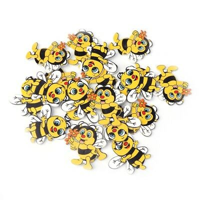 20Pcs Cute Bee Shaped No Holes Wooden Buttons DIY Sewing Scrapbooking Crafting