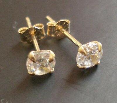 9K Solid Y Gold Round Diamond Solitaire Studs Earrings