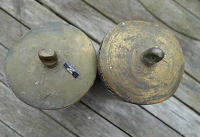 ref N) PAIR of LONDON 8-day LONGCASE CLOCK BRASS CASED WEIGHTS domed bottoms/top