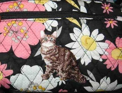 Q cosmetic TABBY CAT Quilted Black Floral Dble Zipper Fabric Cosmetic Bag