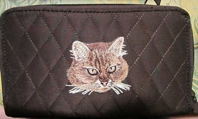Q wallet BROWN TABBY CAT FACE Quilted Fabric Zip Around Brown Wallet
