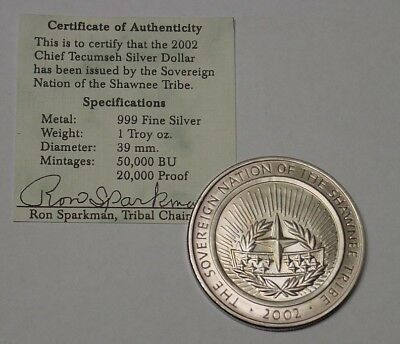 USA 2002 Shawnee Tribe silver dollar, in pouch of issue with certificate.