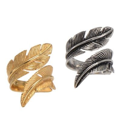 Men Vintage Retro 316L Stainless Steel Ring Feather Ring Opening Punk Party Band