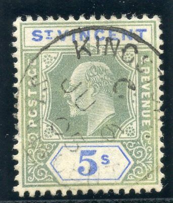 St Vincent 1902 KEVII 5s green & blue very fine used. SG 84. Sc 79.