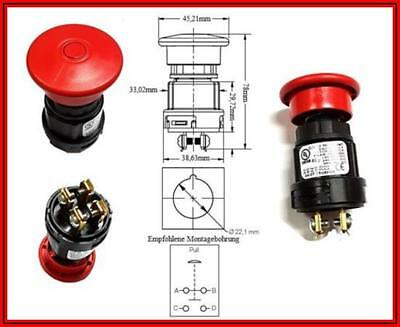 EMERGENCY PUSH Pull Switch NOTAUS SCHALTER Taster 12-48VDC 4-20A 1 Stück