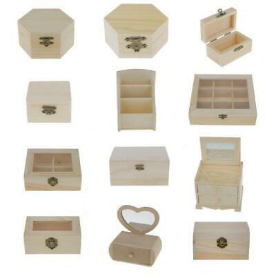 Plain Unfinished Wooden Storage Box Case for Jewellery Gadgets Gift Wood Box