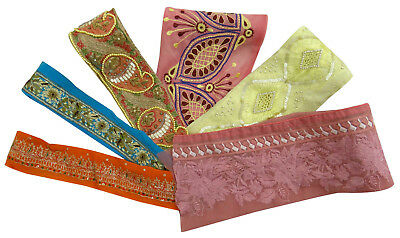Vintage Indian Antique Craft Sari Multicolor Ribbon Sewing Lot Of 6 Pcs Trim