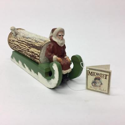 Midwest of Cannon Falls Reproduction Santa On Yule Log Sled Candy Container