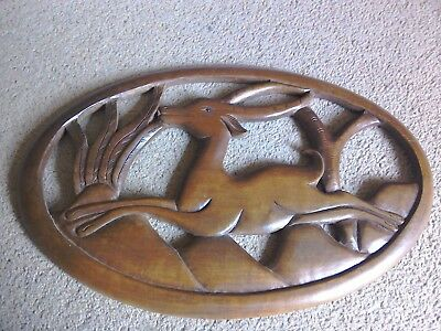 Carved Wooden Gazelle Art Deco Wall Plaque....