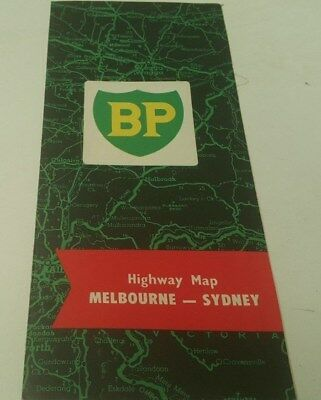1960s ? BP Oil Co. HIGHWAY MAP from  Melbourne to Sydney Australia