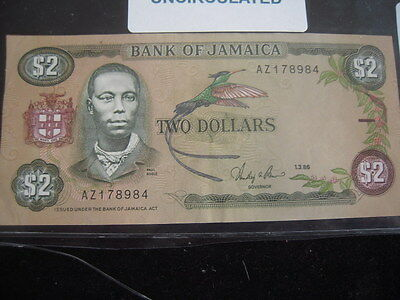 1986 Jamaica 2 Dollar UNC Paper Currency
