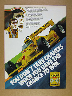1980 Pennzoil Chaparral yellow indy car Johnny Rutherford art vintage print Ad