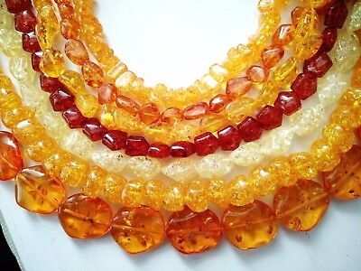 ukcheapest-copal amber nuggets oval rondelle rectangle cone orange yellow beads