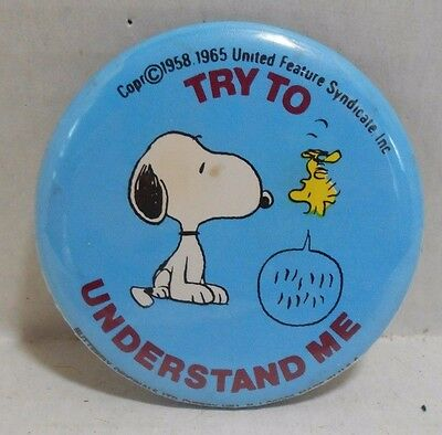 VTG 60's/70's Peanuts Snoopy & Woodstock Pinback Button Try To Understand Me