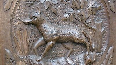 SUPERB 19thc BLACK FOREST OAK PANEL WITH RELIEF CARVED FOX  C.1870