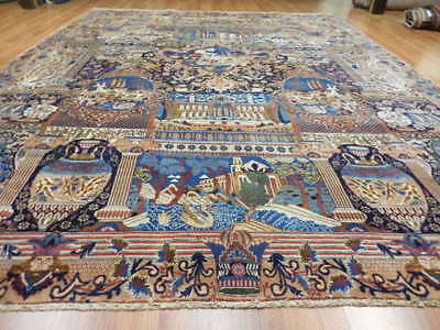 C1940VGDY ANTIQUE PERSIAN PICTORIAL ARCHEOLOGICAL KASHMAR 10x13 ESTATE SALE RUG