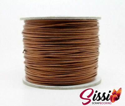 LOT 5 METRE DE FIL DE COTON CIRE MARRON CLAIR BIJOU PERLE CORDON CARTE 0.8mm