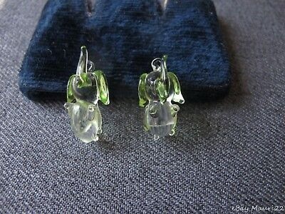 2 Vintage Clear & Juicy Green Murano Glass Elephant Charms Pendants  Unused