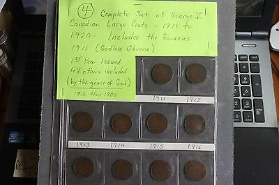 Canada Large Cents Lot 10 Coins All in Nice Shape!!