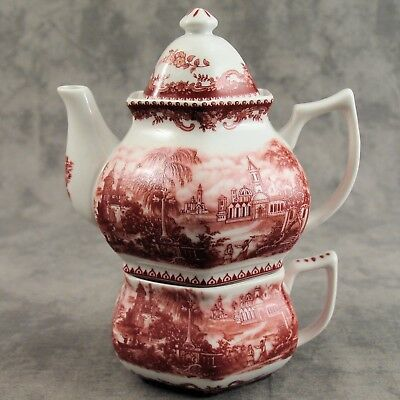Red & White Porcelain Victorian Country Toile Tea For One Set ~ Transferware ~
