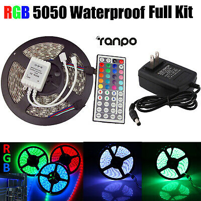 Waterproof LED Strip Light 5M RGB 5050 300 SMD 44 Key Remote 12V Power Full Kit