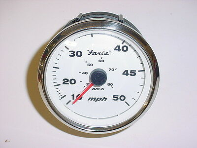 Faria White SST Boat Fuel~Gas Gauge~GPC036A~Rinker~Instrument~Gage~4 Pin Plug