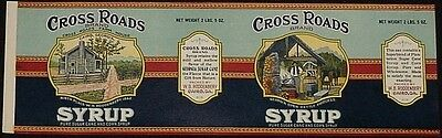 Cross Roads Brand Syrup Vintage 1920's Tin Can Label W. B. Roddenberry Cairo, Ga