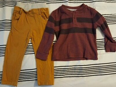 Gently Worn Pants and Termal shirt long sleeve 2T Boys toddler set clothing set