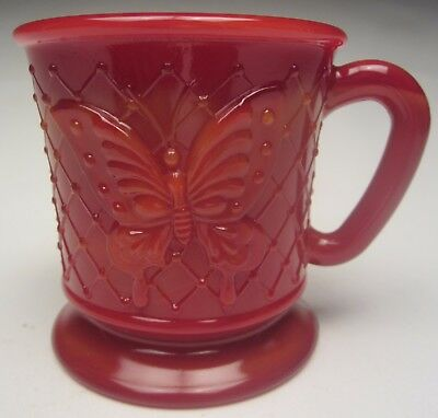 "Fenton Butterfly Mug 3 ¼"" tall Mandarin Red made for FAGCA in 1996 First Quality"