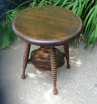 Primitive Oak Spool Leg Lamp Table Fern Stand