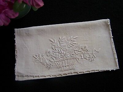Antique Vintage French Hand Embroidered LINEN Glove Keeper HANKIE Pouch No. 2