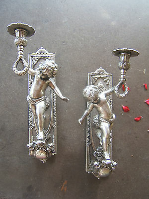 French Pair Old Vintage Silvered Bronze Torch  Candle Figural Cherub Wall Sconce