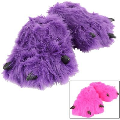 New Girls Novelty Padded Faux Fur Hot Pink Or Purple Monster Feet Kids Slippers