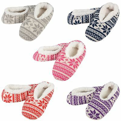 Ladies Snoozies Snugg Slippers Fairisle Knitted Design Super Soft Sherpa Lining