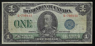 1923 DOMINION OF CANADA $1 ONE DOLLAR DC-25c BLUE SEAL G-790111 MCCAVOUR SAUNDER