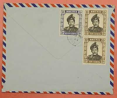1954 Brunei Multi Franked Airmail Cover To Usa