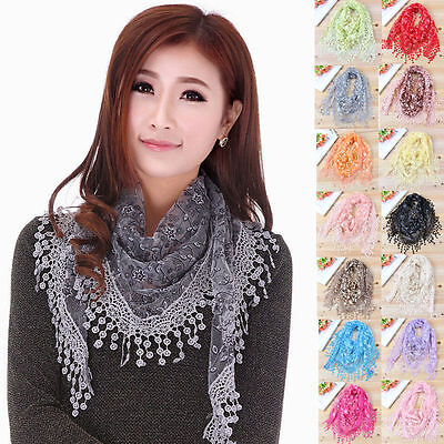 18 Color Lace Tassel Rose Floral Veil Mantilla Triangle Sheer Floral Scarf Shawl