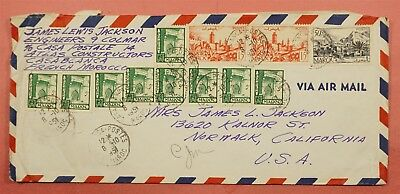 1951 French Morocco Multi Franked Airmail Cover To Usa