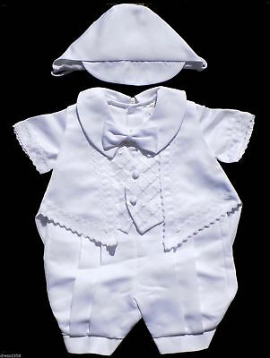 Toddler Christening Baptism Outfit  w/Hat, White,Size : Small, Large