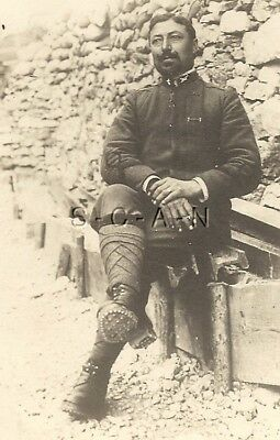 WWI Italian Large Real Photo PC- Royal Army- Soldier- Uniform- Ribbon- Boots