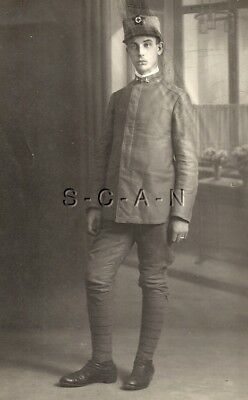 WWI Italian Large Real Photo PC- Royal Army- Soldier Portrait- Uniform- Hat