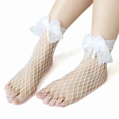 3 Pairs Ankle High Fishnet Sock Bowknot Decor Hollow Out Mesh Short Stockings