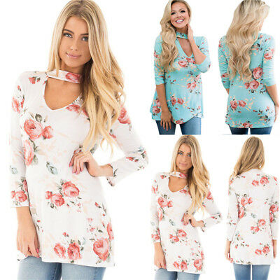 Plus Size Women's Blouse Floral Choker Long Sleeve Ladies Casual Tops T-Shirt