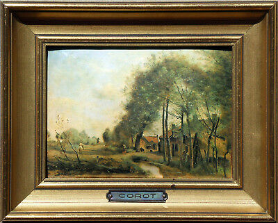 """""""ROAD of SAINT-LE-NOBLE""""- Miniature enameled on hammered copper plate (of COROT)"""